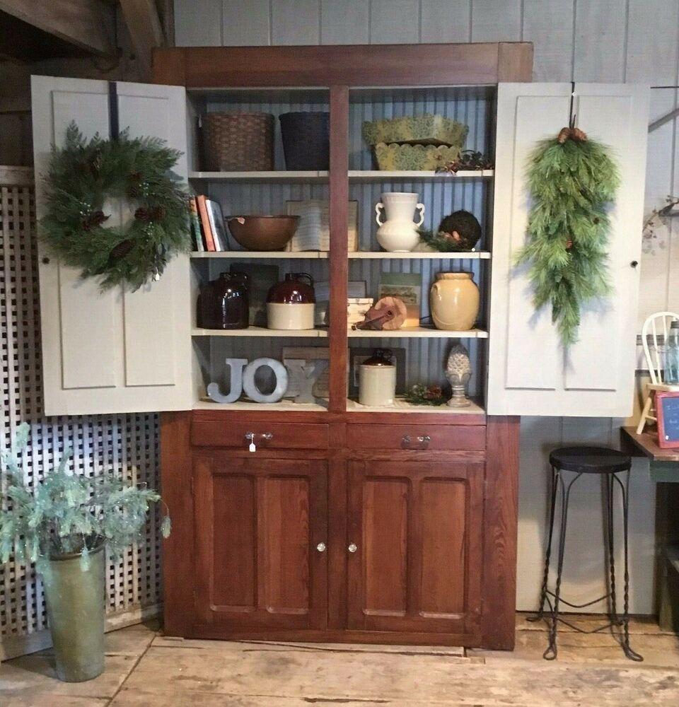 Primitive Antique America Cupboard Cabinet Pantry Plantation Farmhouse Large #FrenchCountry #largepantryideas