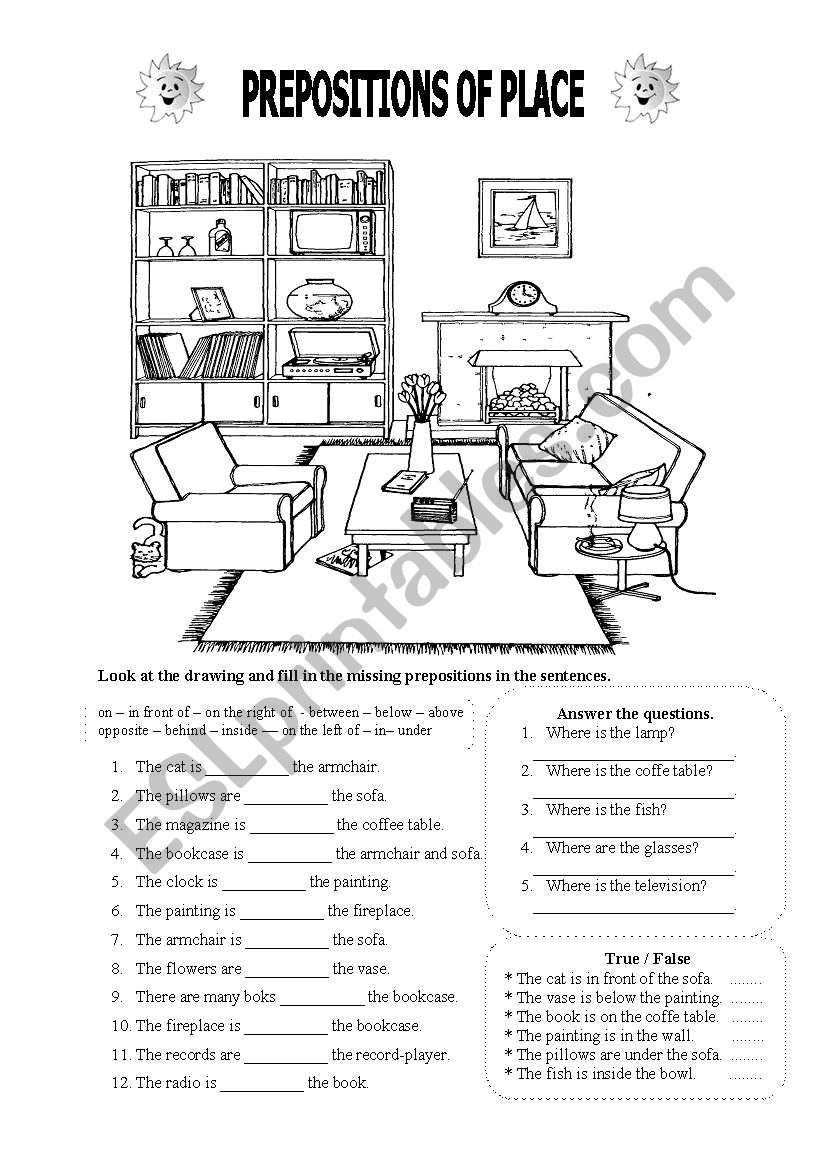 Different exercises for prepositions of place...True