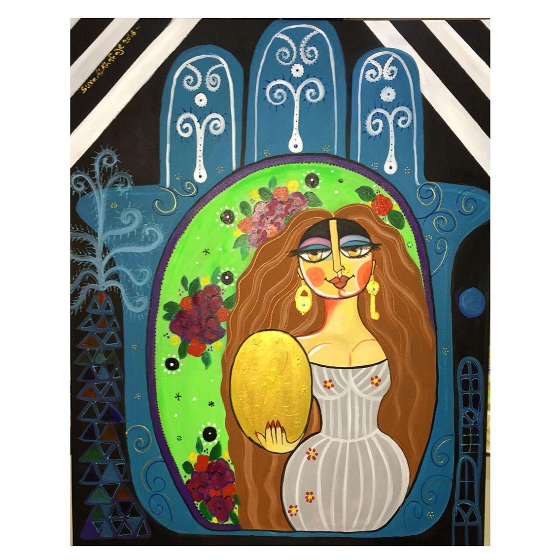 عروس الجنوب Braide Of South Acrylic On Canvas Size 100 80cm سرى الخفاجي كف حسد مراة جنوب Art Artist Painting P Art Painting Acrylic Painting