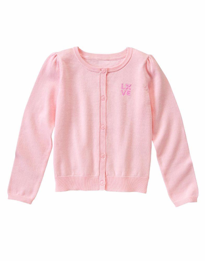 Gymboree Girls Medium 7/8 Light Pink Love Button-Up Cardigan ...