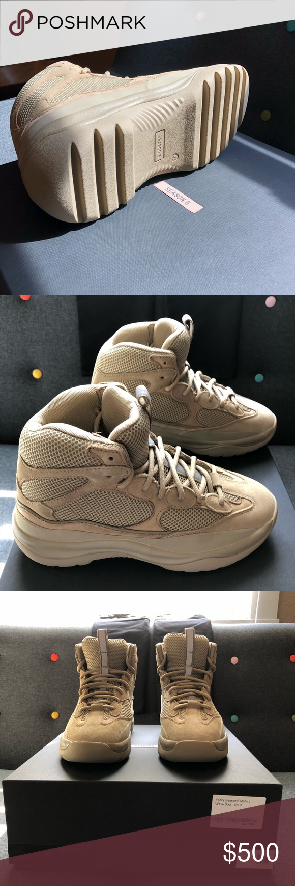 7d9372d0d5bf8 Yeezy Season 6 Desert Rat Boot US size 10 Yeezy Season 6 Military Wave Boot  (Desert Rat Boot.) US size 10. Brand new in box. Dust bags included with  Yeezy ...