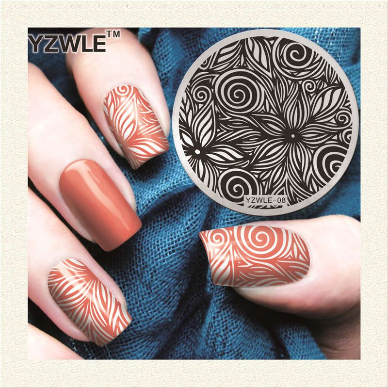 2017 새로운 도착! 손으로 그린 꽃 디자인 YZWLE 네일 아트 스탬핑 플레이트 최고의 품질 스테인레스 스틸 네일 아트 이미지 템플릿
