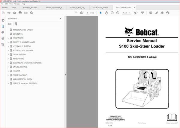 Bobcat S100 Skid Steer Loader Service Repair Workshop Manual Download Sn Ab6420001 Above In 2020 Skid Steer Loader Manual Hydraulic Systems