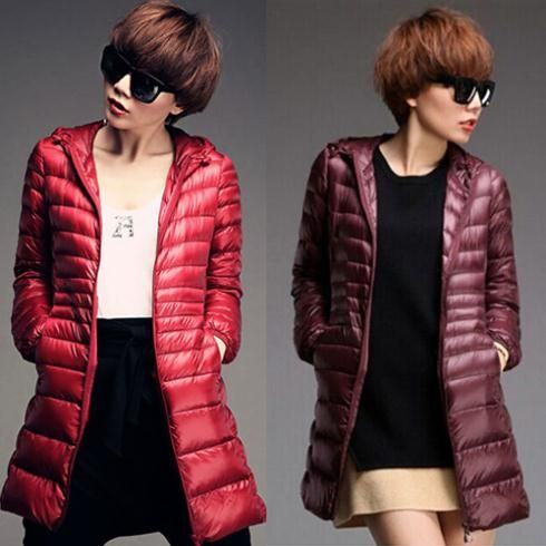 2014 New Winter Down Parka Womans Slim Hooded White Duck Down Jacket Down Overcoat Light Outerwear Promotional discounts