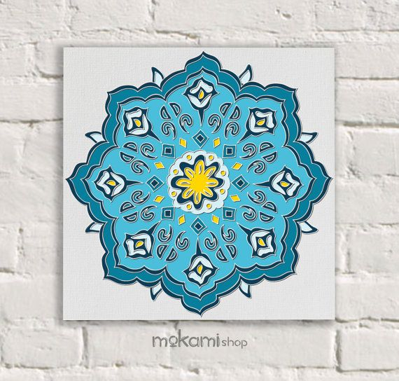MOROCCAN Canvas Print, Blue, ROSETTA, MOSAIC, Moroccan Wall Decor, Moroccan  Painting