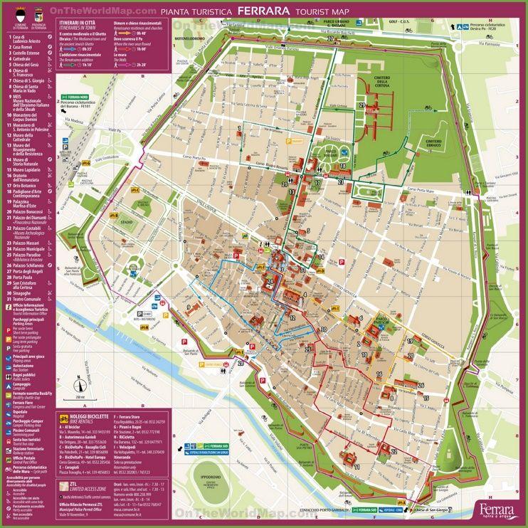 Ferrara tourist map Maps Pinterest Tourist map Italy and City