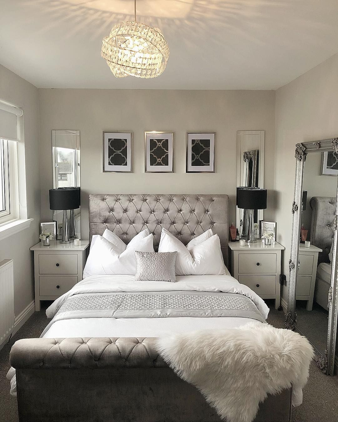 Mirrors behind nightstands | Silver bedroom furniture ... on Mirrors For Teenage Bedroom  id=51372