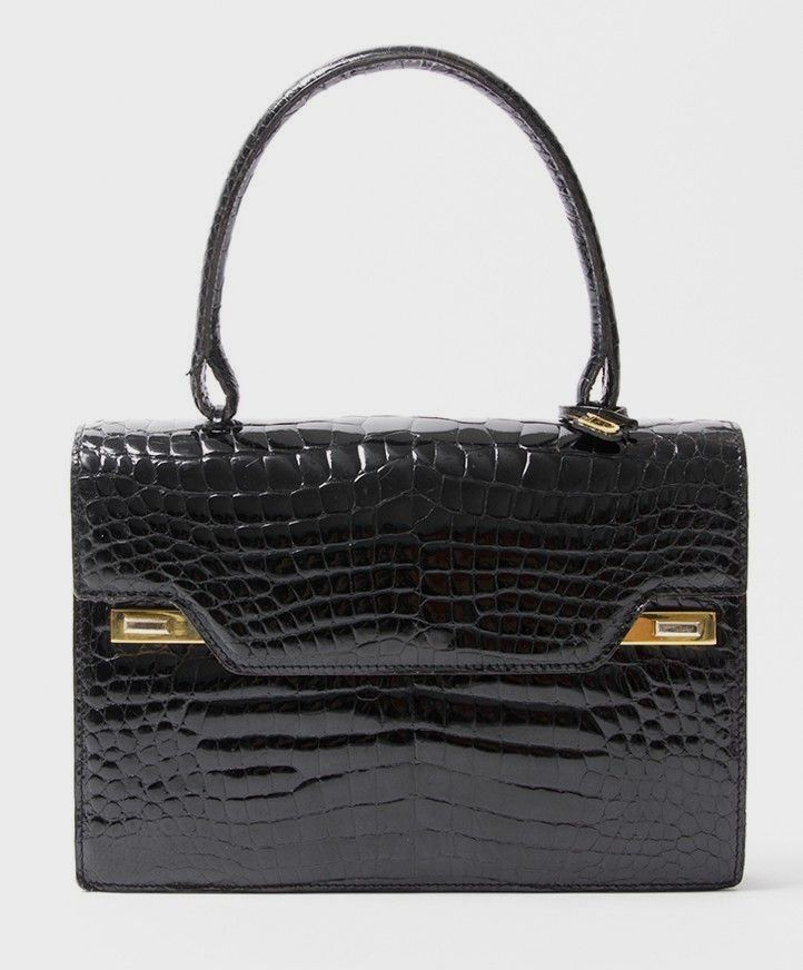 buy safe online second hand designer vintage delvaux croco top handle bag  best price second hand f95549a41b876