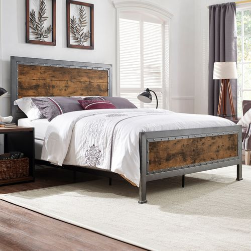 Industrial Brown Wood Metal Queen Bed Mebel Perabot Kamar