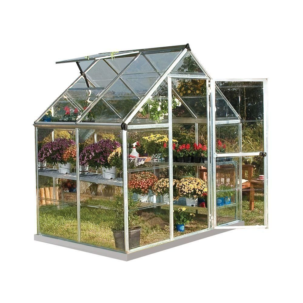 Palram Harmony 6 Ft X 4 Ft Polycarbonate Greenhouse In Silver 701634 The Home Depot 1000 Diy Greenhouse Homemade Greenhouse Backyard Greenhouse Backyard greenhouse home depot