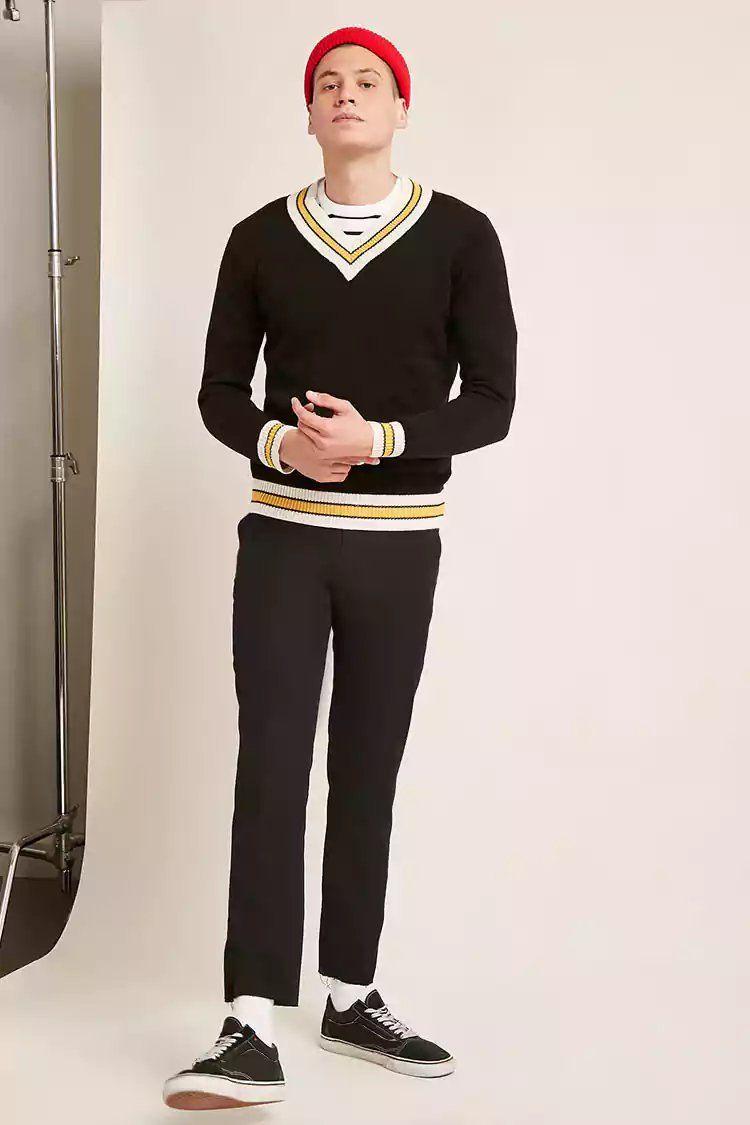 e3003a82a90d Contrast Striped V-Neck Sweater | Forever21 | forever 21 | men ...