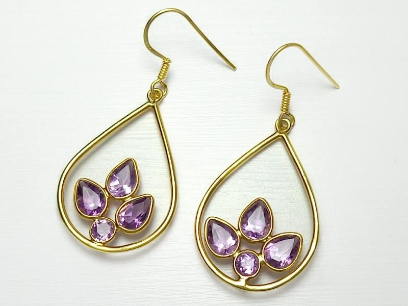 Sterling Silver Gold Overlay Amethyst Earrings