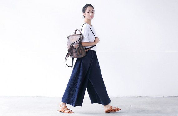 summer wide leg linen pants retro casual loose pants by ideacloth, $56.00