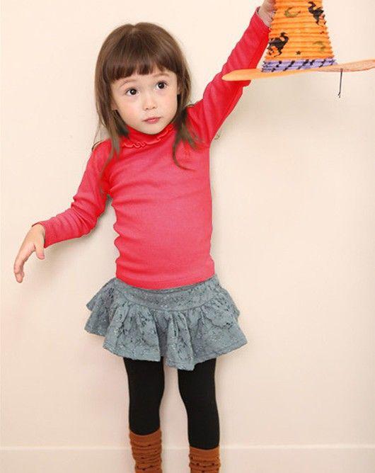 Дешевое Wholesale 6pcs / много девочек ребенок ребенок Turtlenneck блузки футболки дна по уходу за детьми одежда, Купить Качество Блузки и рубашки непосредственно из китайских фирмах-поставщиках:         1 лот = 6шт , содержат 2 цвет , красный ANS оранжевый     Размер : 100,110,120cm
