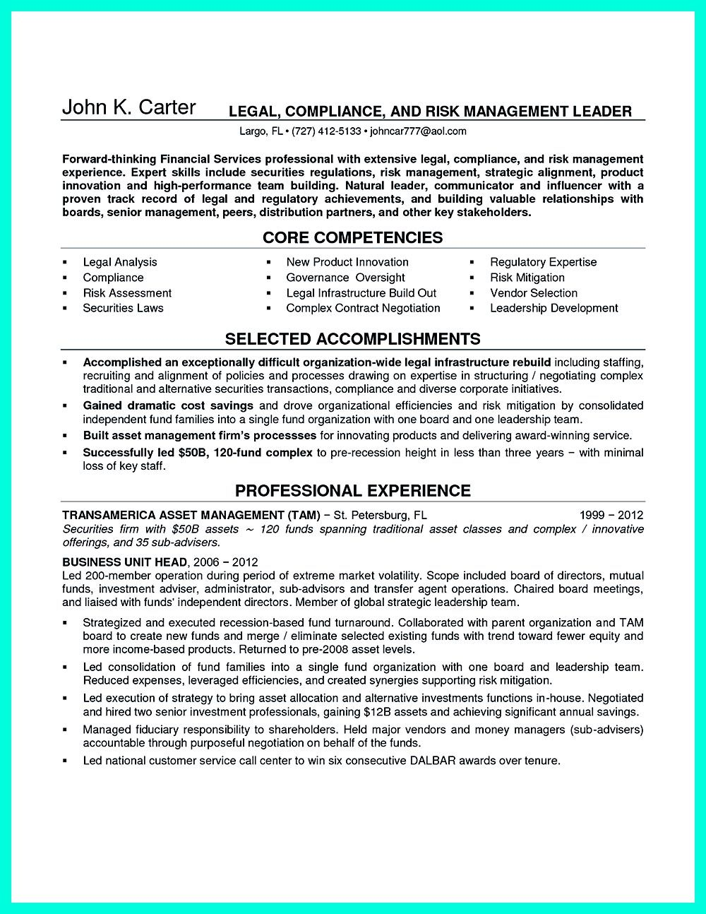 Compliance Officer Resume Is Well Designed To Get The Attention Of The Hiring Manager The Resume Here Begins With The T Resume Risk Management Resume Examples