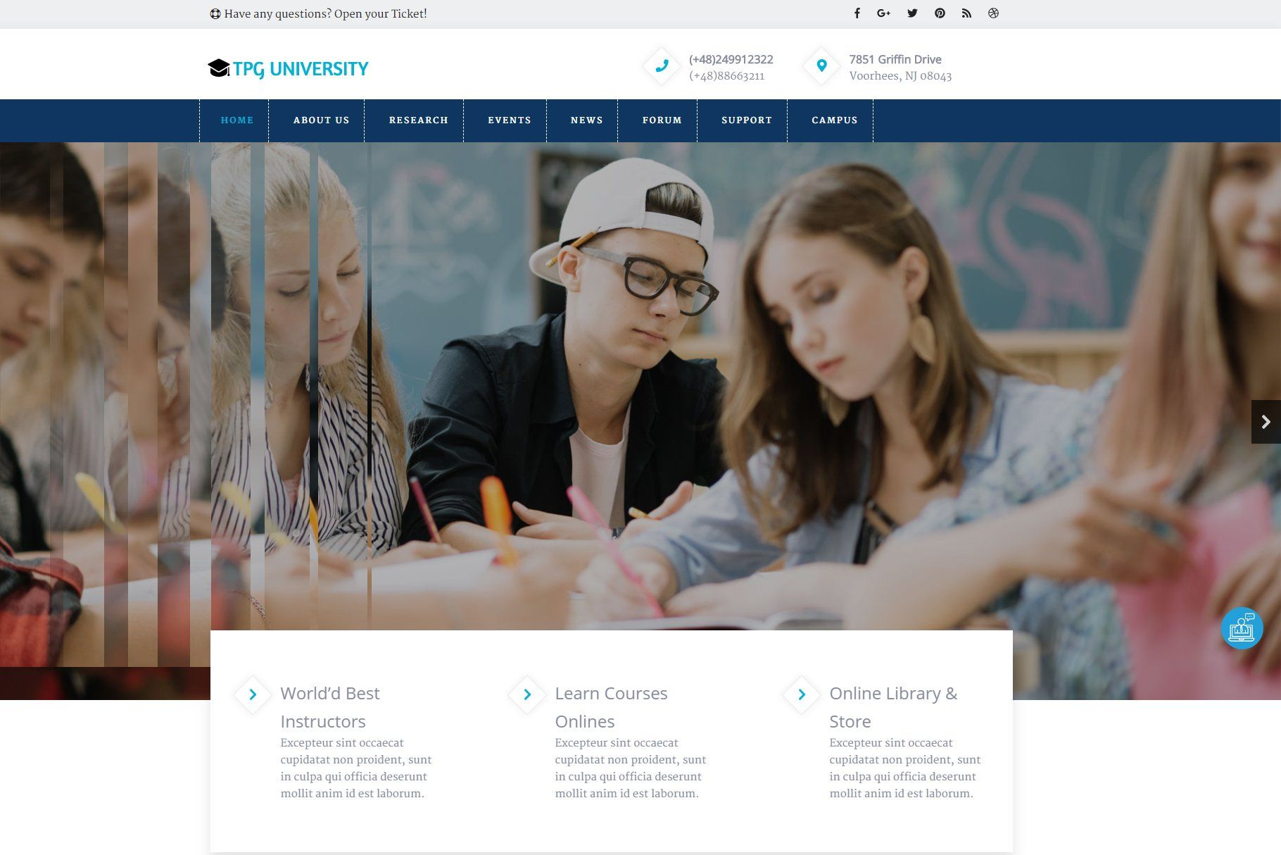Tpg University Education Theme Education Education Wordpress Themes University