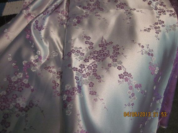 Special Occasion Fabric: Purple Cherry Blossom Satin, New by WhimseysByAnne, $25.00