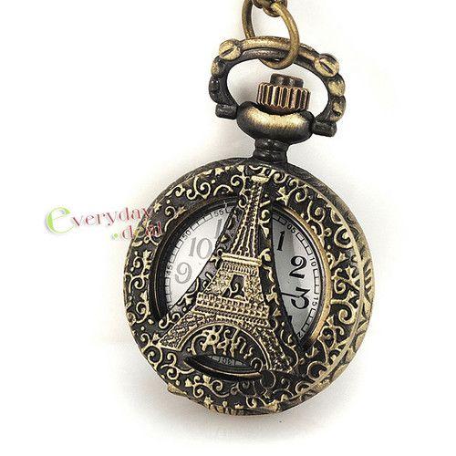 Elegant Mini Bronze Pocket Watch Quartz Eiffel Tower Carved Hollow Dress Gift
