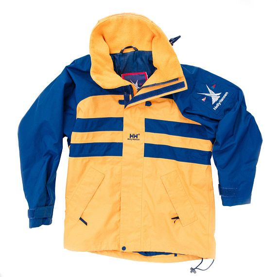 265168e6bc94 Vintage original 90s Helly Hansen blue and yellow sailing and yachting  jacket in great condition with