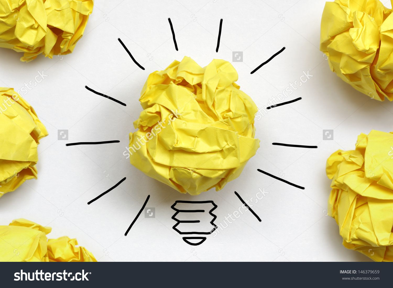 Inspiration Concept Crumpled Paper Light Bulb Metaphor For Good Idea Стоковые фотографии 146379659 : Shutterstock