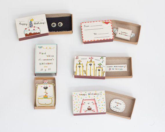 SPECIAL Birthday Cards Set of 5 Bulk Birthday Card Matchbox