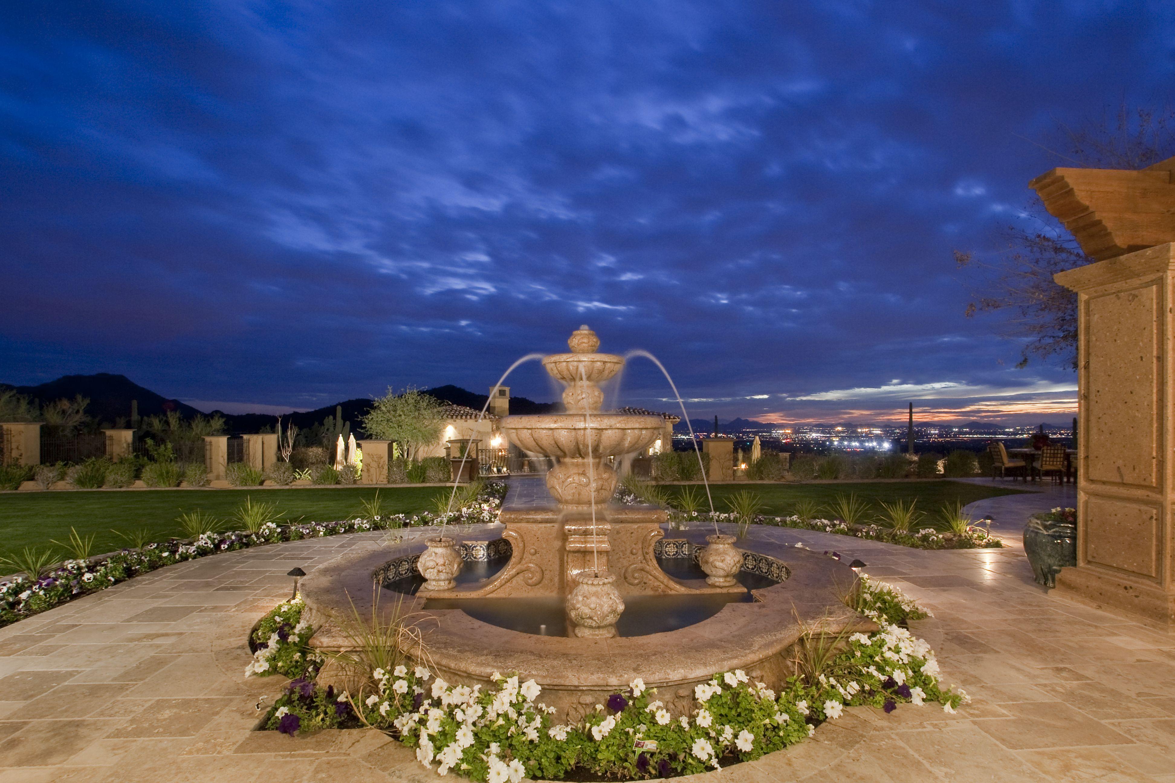 Exterior Fountain at a Italian Villa.
