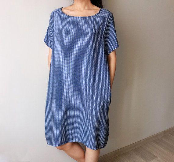Slips-on silk stripe print boatneck loose-fit dress by Metaformose