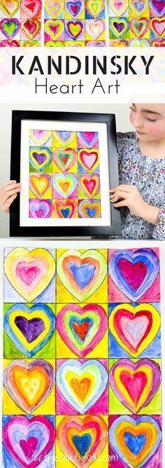 Arty Crafty Kids | Kunst für Kinder | Kandinsky inspirierte Herzkunst | Inspiriert von Kan .....