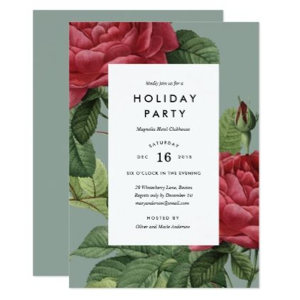 Vintage Rose Holiday Party Invitation - wedding invitations diy - holiday party invitation