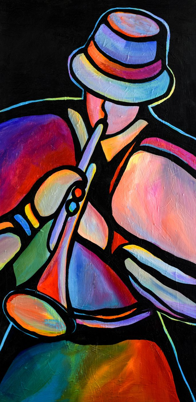 Original abstract painting jazz music trumpet by mike daneshi
