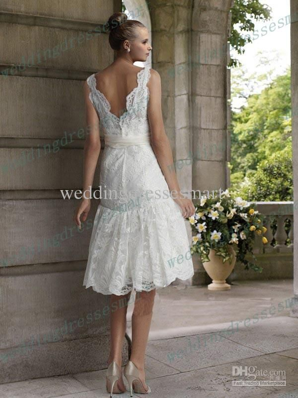 6b282acd103 Wholesale Wedding Dresses - Buy 2013 New Lace Mermaid Deep V-Neck Knee  Length Garden Beach Wedding Dresses Sexy V-Back Trumpet Skirt
