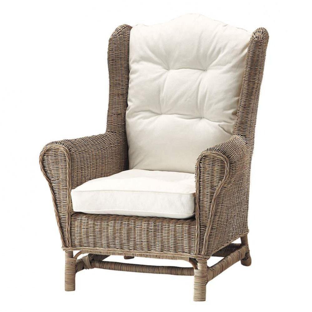 Maison Du Monde Fauteuil Rotin fauteuil bergère en rotin et coussins ivoire | fauteuil