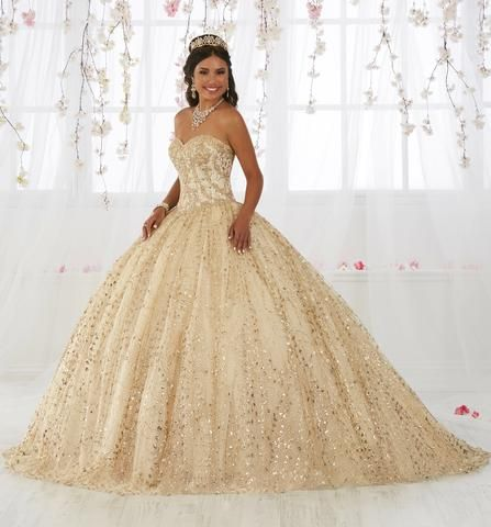 Gold Applique Strapless Quinceanera Dress by House of Wu 26913 -   19 dress Quinceanera gold ideas