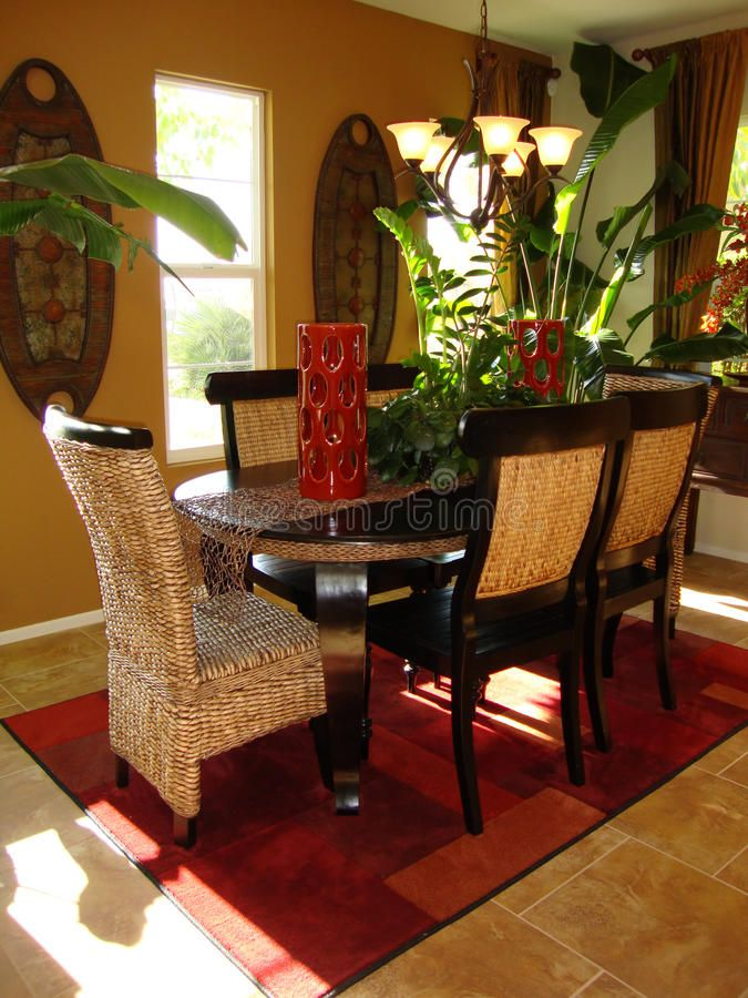 Photo about Beautiful tropical dining room, bold colors of ...