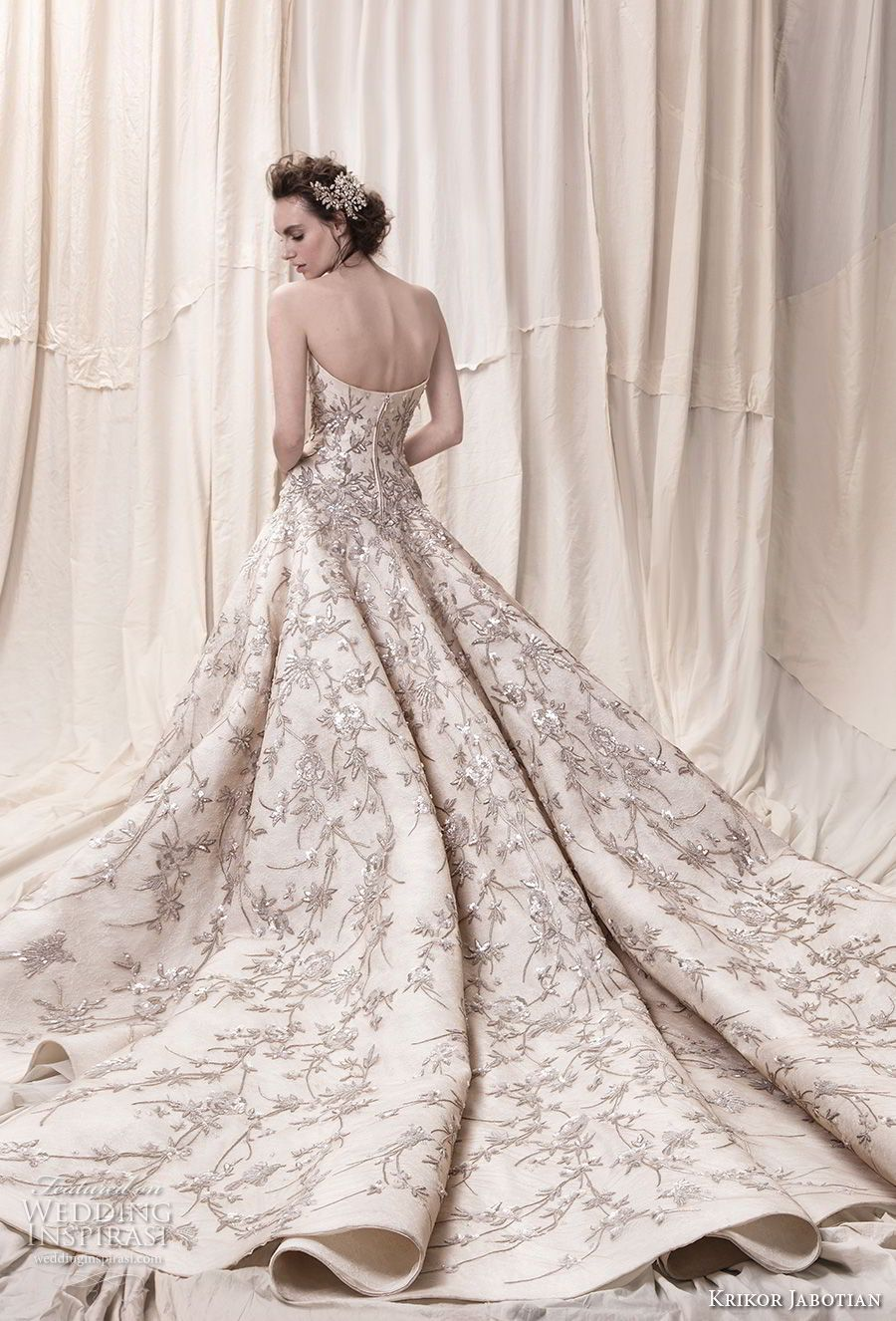 46c5bbb4ee394 krikor jabotian spring 2018 bridal strapless straight across neckline full  embellishment champagne color princess ball gown a line wedding dress royal  train ...