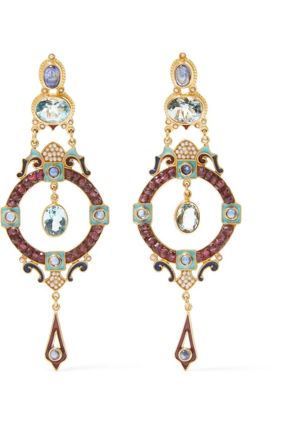 Gold-plated And Enamel Multi-stone Hoop Earrings - one size Percossi Papi tSujcFAP