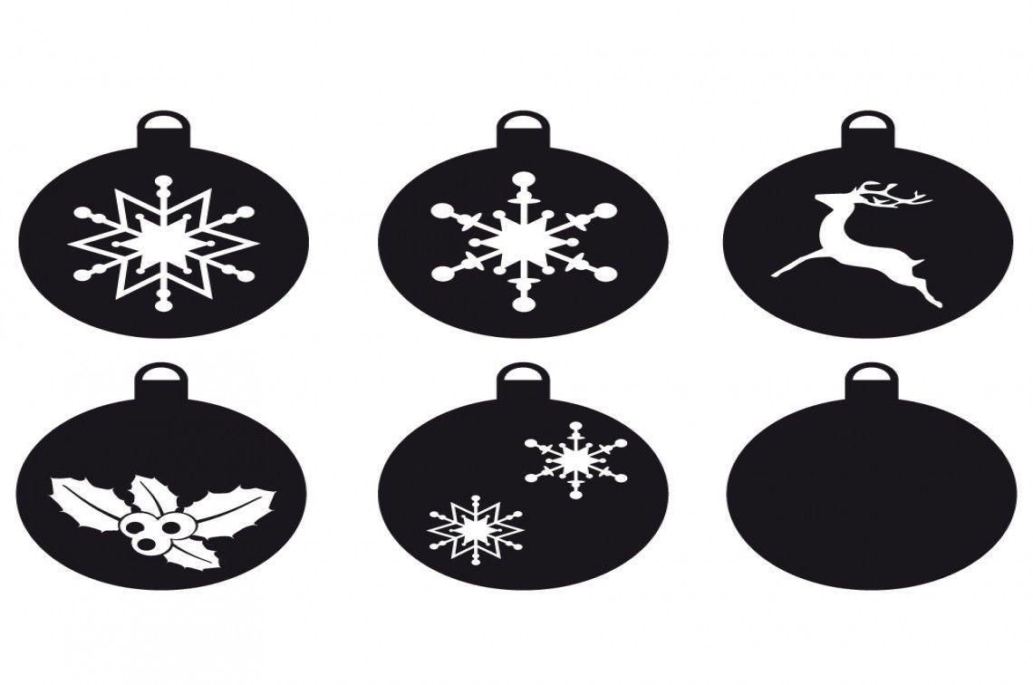 Weihnachtskugeln, Schneeflocke, Hirsch, Stechpalme, Stern, Schneiddatei von HappyFabric