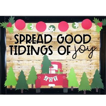 Christmas Bulletin Board or Door Kit - Little Red Truck Theme #decemberbulletinboards