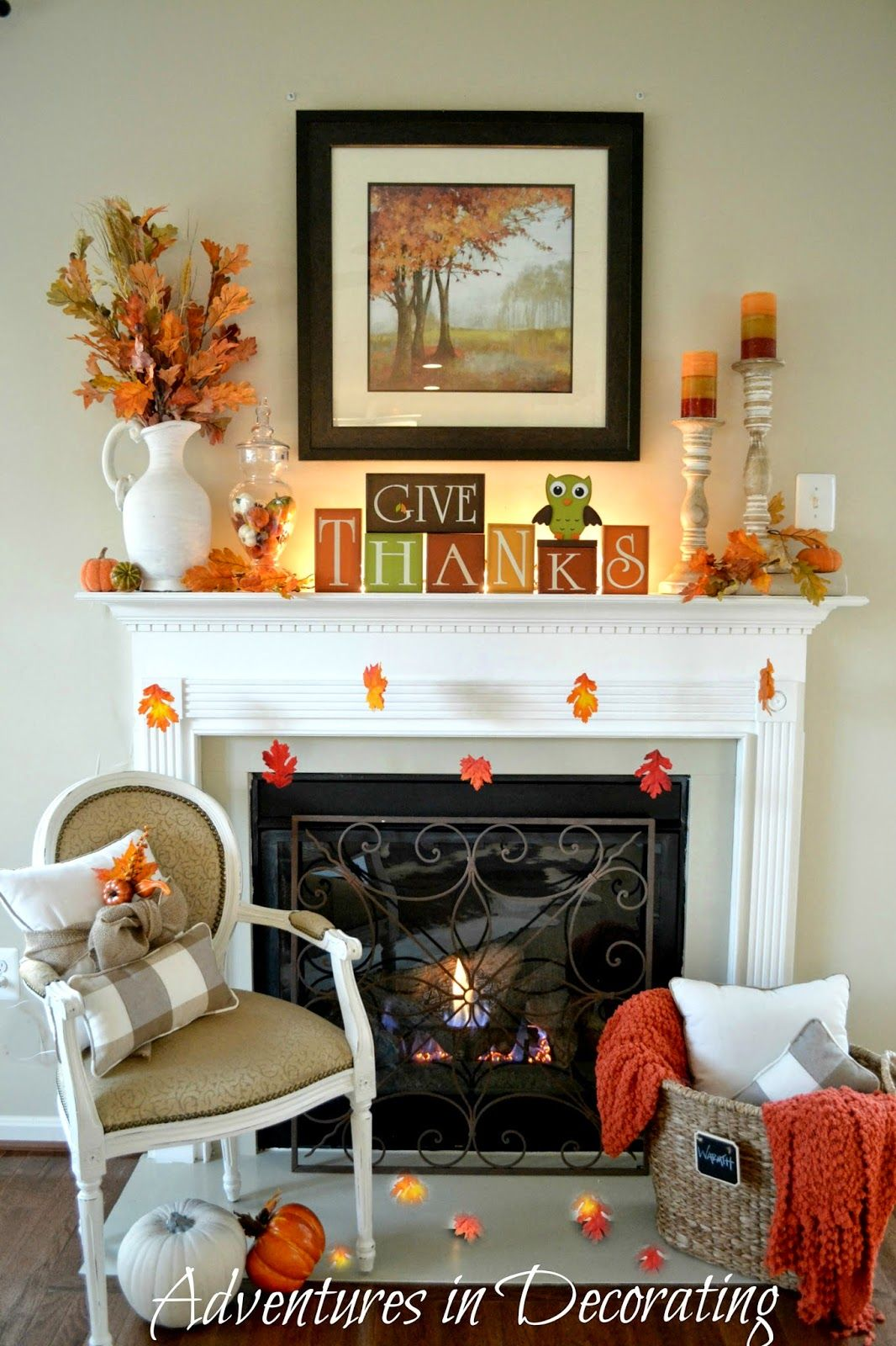 Adventures In Decorating Our Simple Fall Mantel Fall Mantle Decor Fall Mantel Decorations Fall Home Decor
