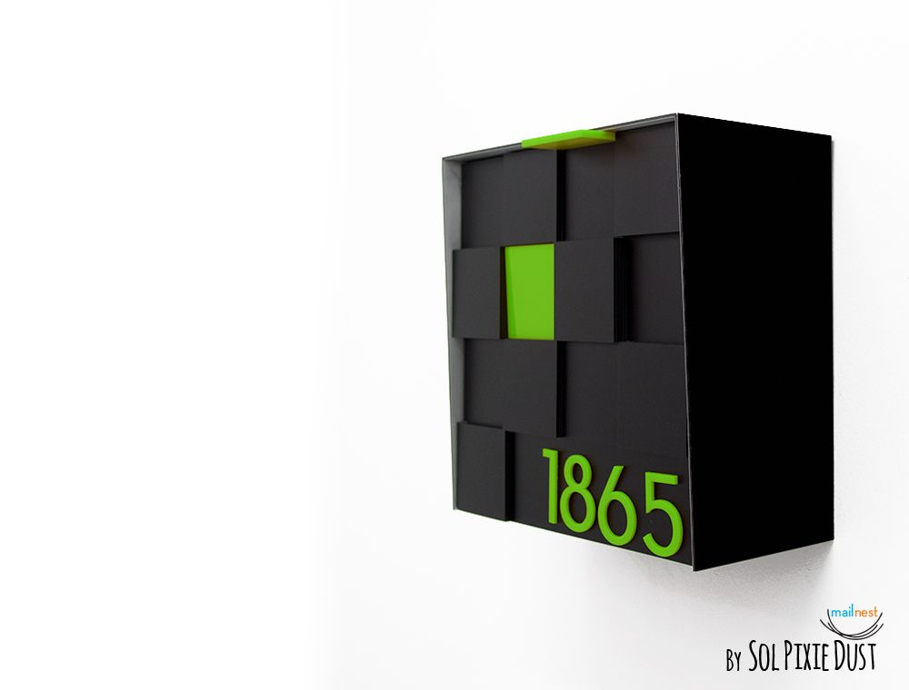 3d Modern Mailbox With 3d Face Aluminum Black Body And Green Etsy Modern Mailbox Wall Mount Mailbox Mailbox Stand