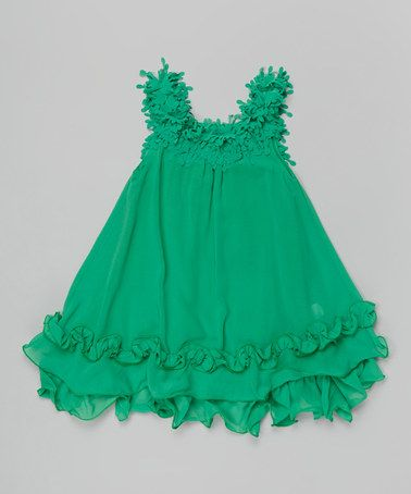 Green Fringe Ruffle Swing Dress - Toddler & Girls by Blossom Couture #zulily #zulilyfinds