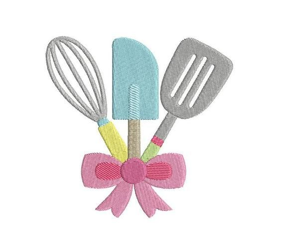 Kitchen Utensils Embroidery Designs Fill Stitch Cooking