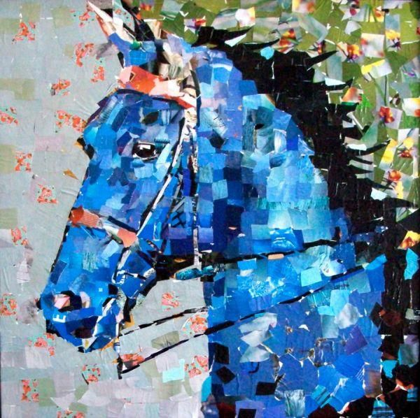 "Blue Saddlebred.  30""x 30"" Collage on Canvas. Artist: Samuel Price 2011"