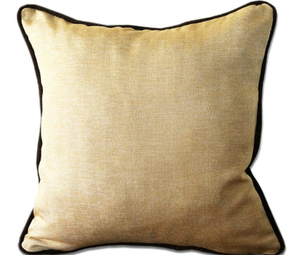 Gold herringbone pillow cover with brown trim