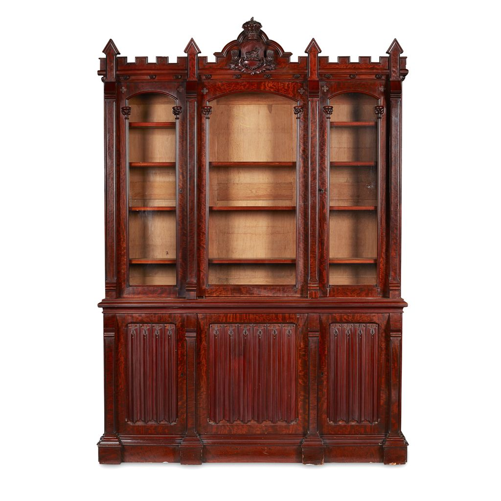 EARLY VICTORIAN MAHOGANY GOTHIC REVIVAL LIBRARY BOOKCASE