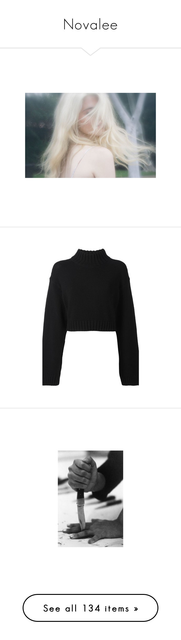 """""""Novalee"""" by mkklwilliams ❤ liked on Polyvore featuring pictures, photos, people, pics, backgrounds, tops, sweaters, shirts, crop tops and black"""