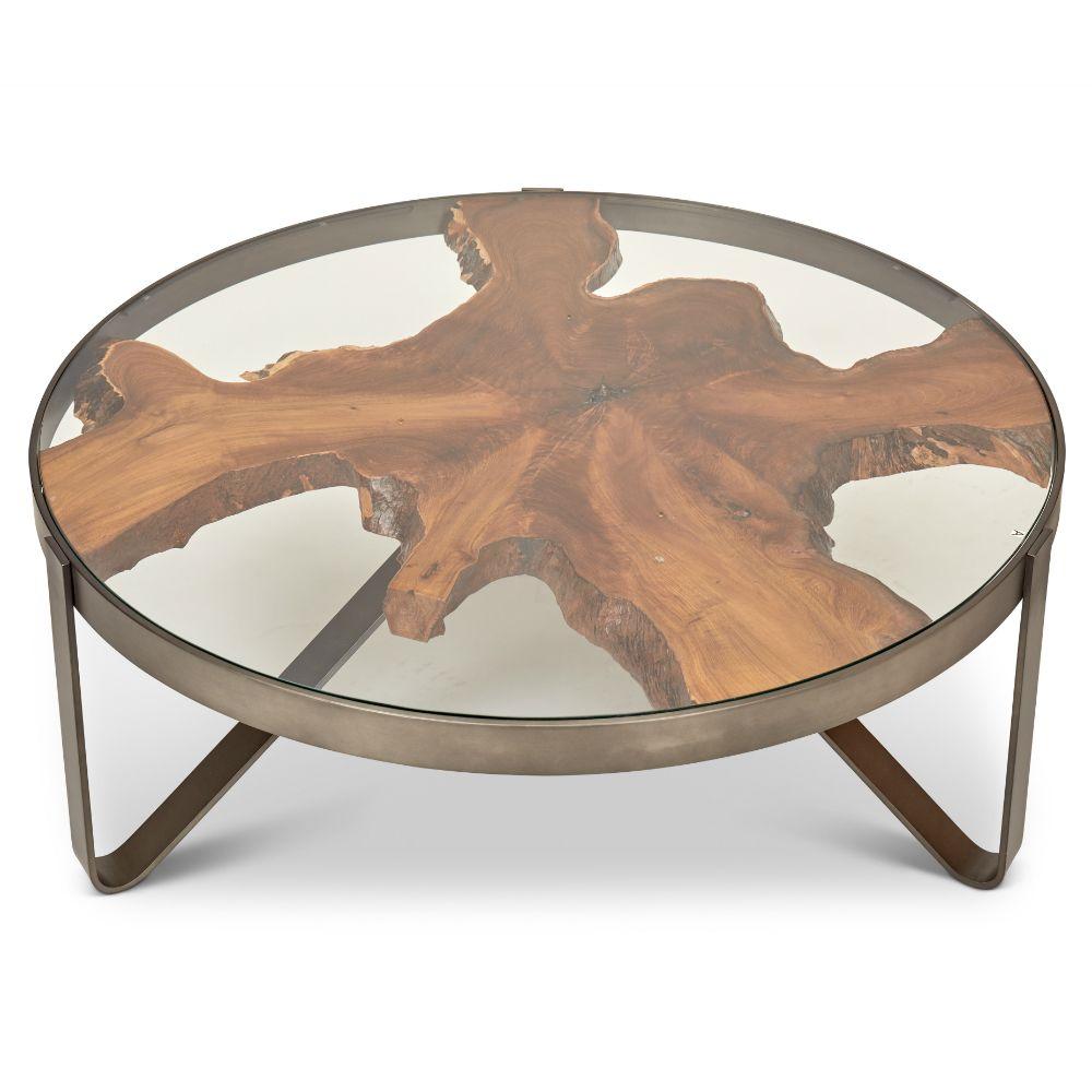 Buck Rustic Lodge Teak Wood Glass Stainless Steel Round Round Coffee Table Coffee Table Steel Coffee Table Round Coffee Table [ 1000 x 1000 Pixel ]