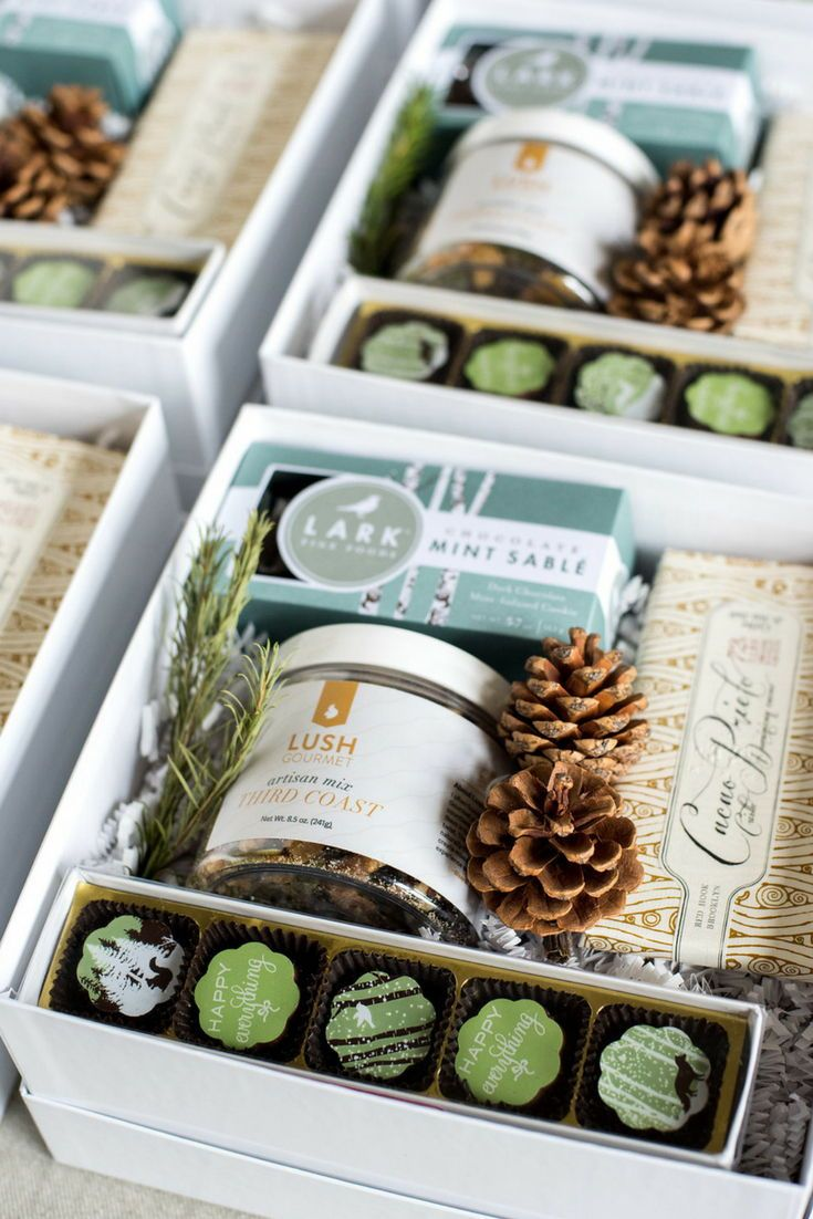 Custom client holiday gift boxes curated by marigold