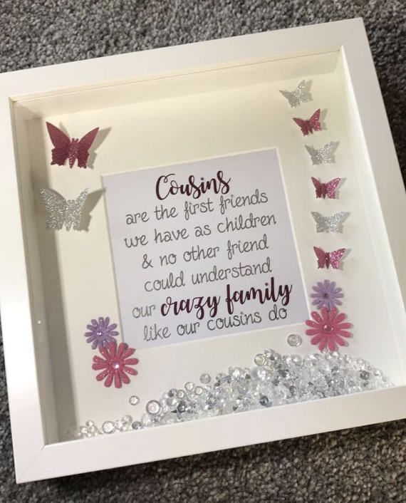 Cousins Glitter Butterfly Quote Box Frame Cousin Gift Family