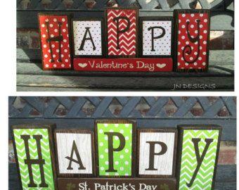 St Patrick's day wood blocks Lucky blocks by jjnewton on Etsy